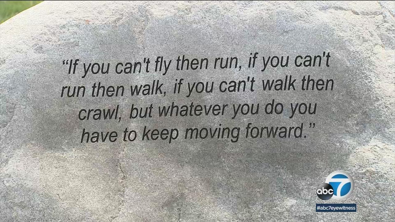 A quote from Dr. Martin Luther King Jr. is shown at a memorial tree grove in Baldwin Hills thats dedicated to him as the anniversary of his assassination looms.