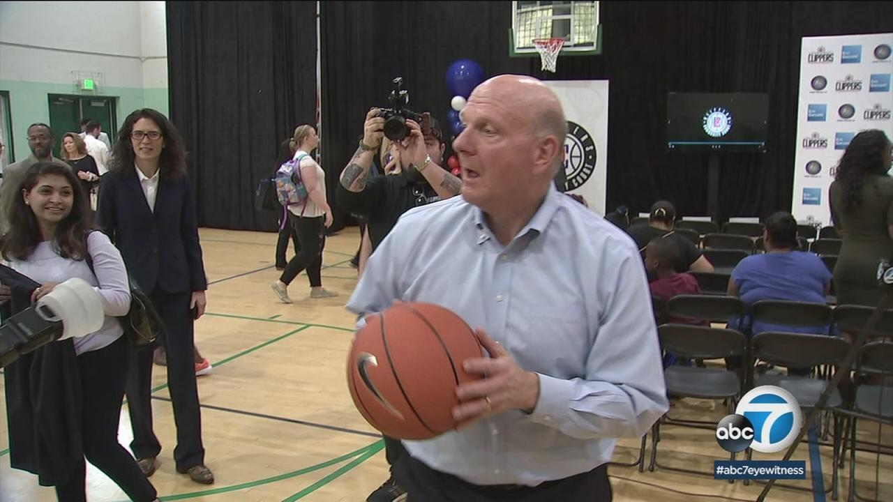 The Los Angeles Clippers and owner Steve Ballmer are donating funds to help the city of Los Angeles renovate nearly 350 basketball courts.