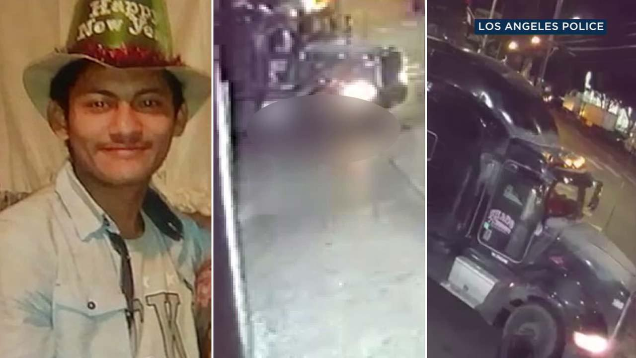 The search is on for the driver of a semi-truck involved in a fatal pedestrian hit-and-run crash in Los Angeles in February.