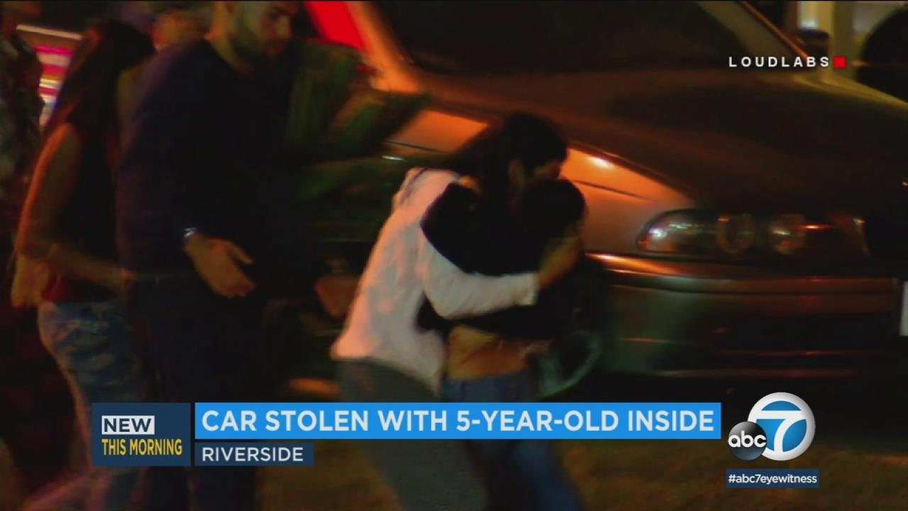 A 5-year-old boy in Riverside is back with his family after he was in a car that was stolen overnight.