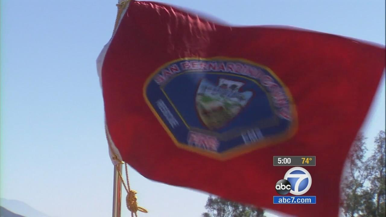 A red flag flies outside a San Bernardino County fire station in this undated file photo.