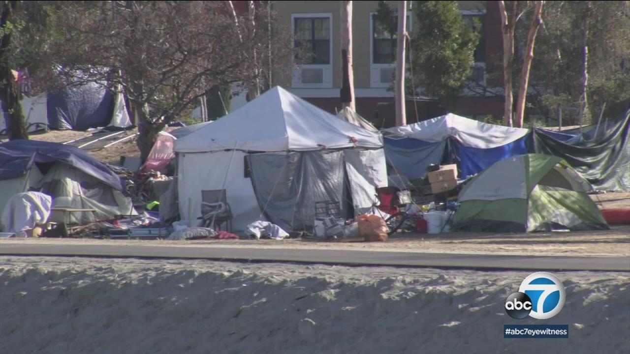 A homeless encampment is shown.
