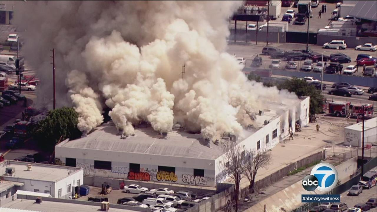 A commercial structure in Panorama City was engulfed in flames on Tuesday.