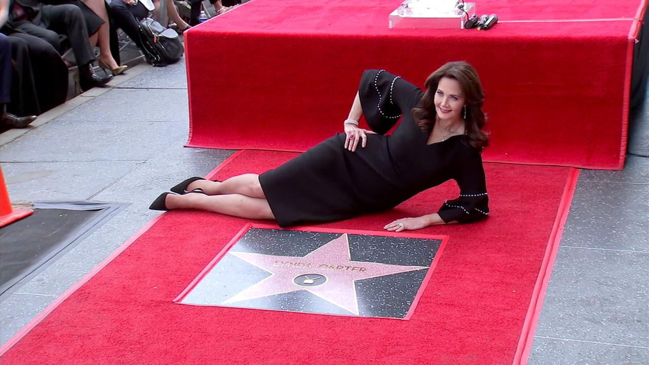 Wonder Woman star Lynda Carter is shown at the unveiling ceremony for her Hollywood Walk of Fame star on Tuesday, April 3, 2018.