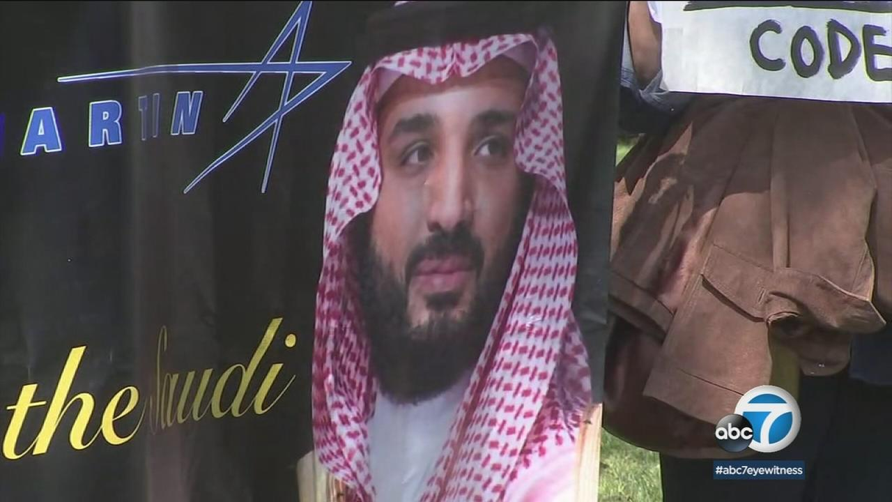 Mohammed Bin Salma is shown on a poster during his event at the Beverly Hills Hotel.
