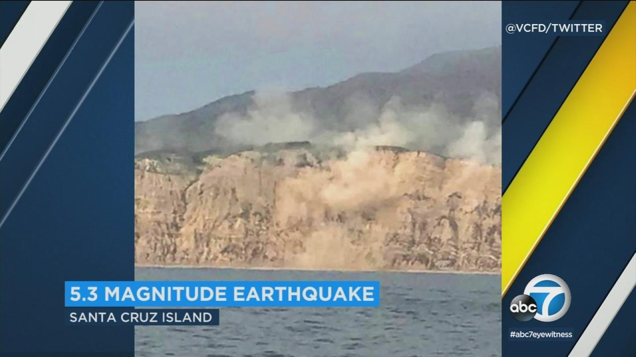 More footage of the 5.3-magnitude earthquake that struck near Channel Islands shows unique images of dust rolling off cliffs along Santa Cruz Island.