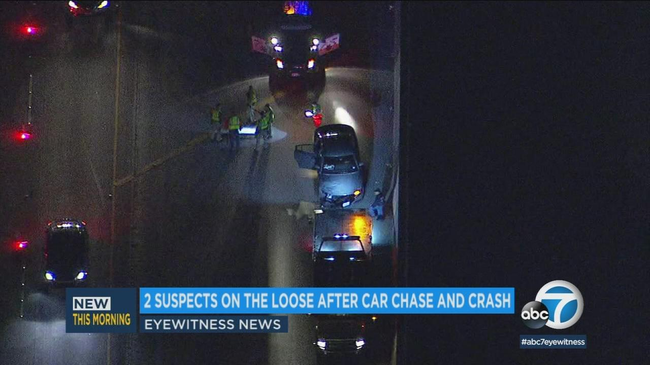 Two suspects got away after leading sheriffs deputies on a chase down the 5 Freeway before crashing into two other cars.
