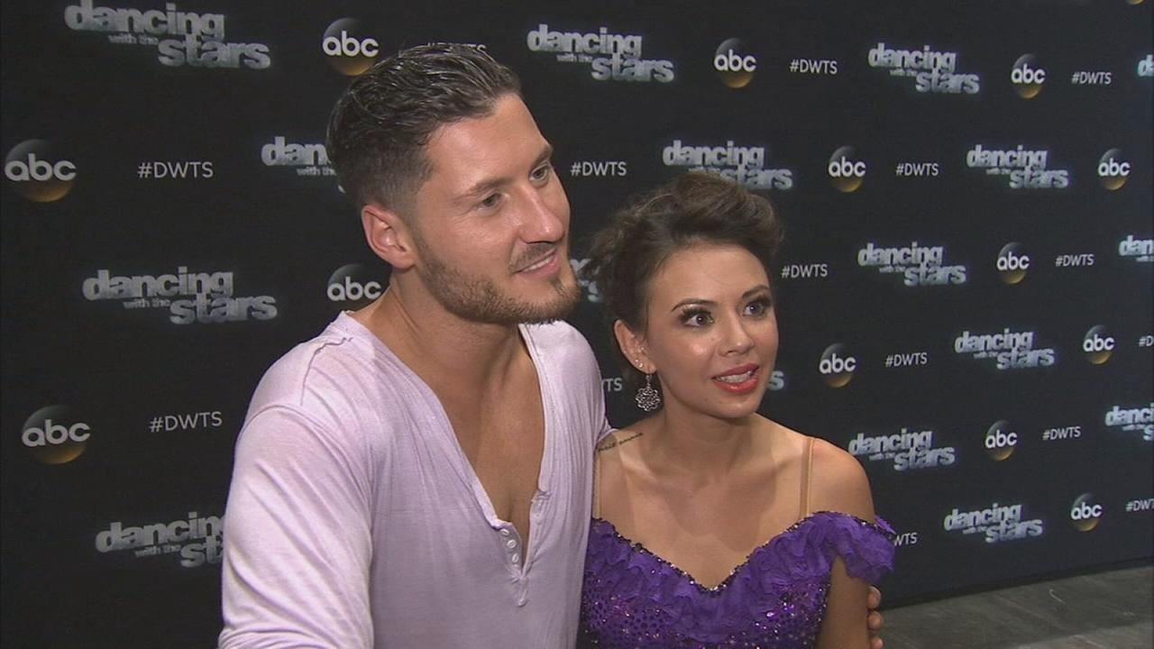 Janel Parrish and Val Chmerkovskiy on Dancing With The Stars week 3 on Monday, Sept. 29, 2014.