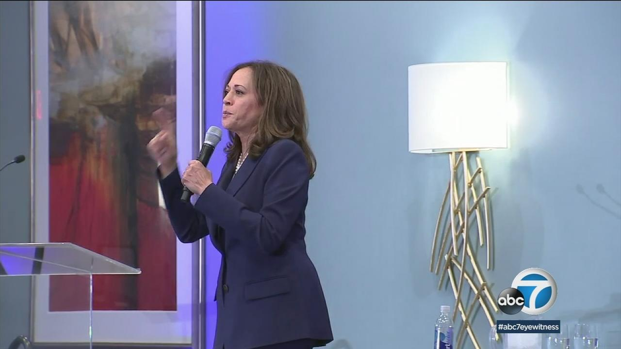 The first town hall meeting in Long Beach for Senator Kamala Harris took a tone that was part campaign rally, part revival.