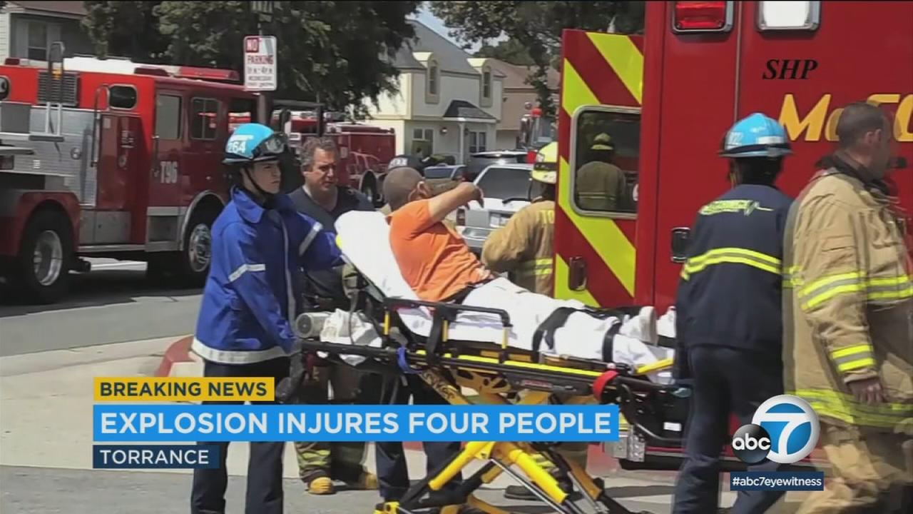 Four people were hurt in a possible gas explosion Sunday afternoon in Torrance, authorities said.