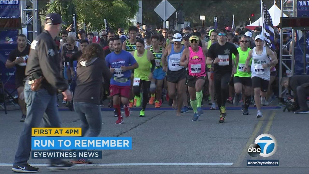 Hundreds of runners took off from The Grove for the third annual Run to Remember to honor fallen officers and firefighters.