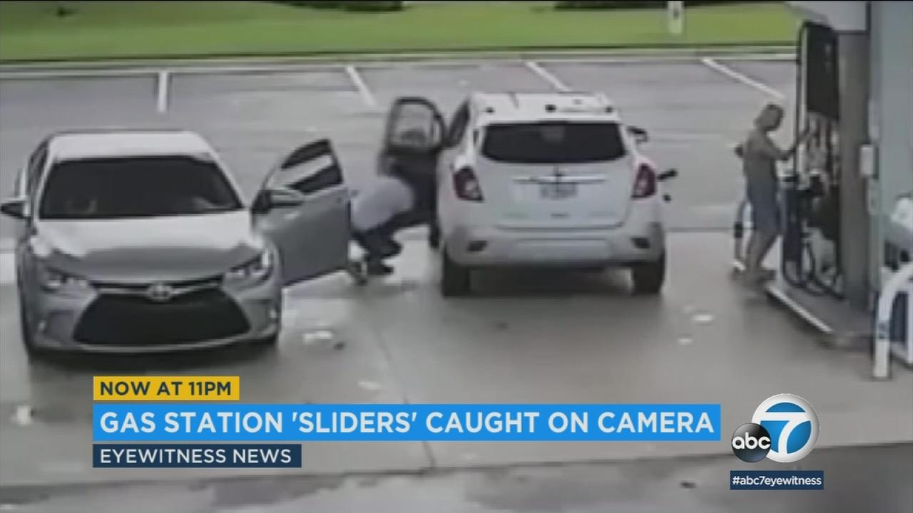 Southern California police are warning about slider thefts in which a thief slides up out of sight to a womans car at a gas station and steals her purse.