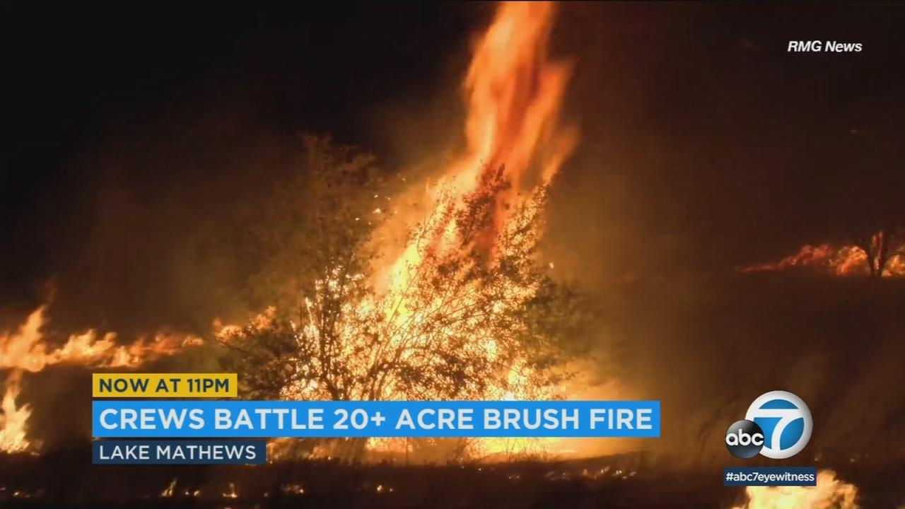 Crews are getting a handle on a more-than 20-acre brush fire burning near Lake Mathews in Riverside County.