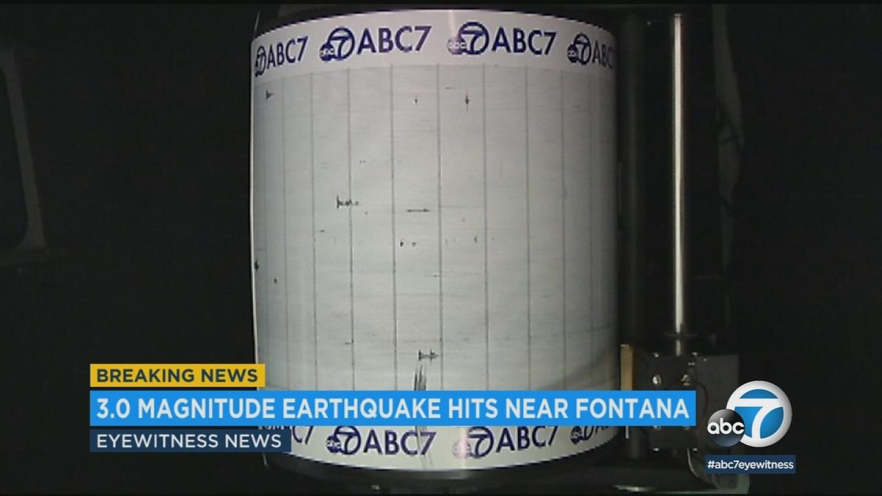 The ABC7 Quake Cam shows the small earthquake that struck near Fontana on Tuesday, April 10, 2018.