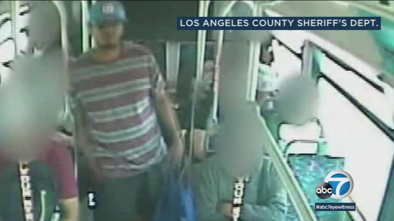 Surveillance video shows a knife in the suspects hand moments before he stabs the victim on a public bus in East Los Angeles.