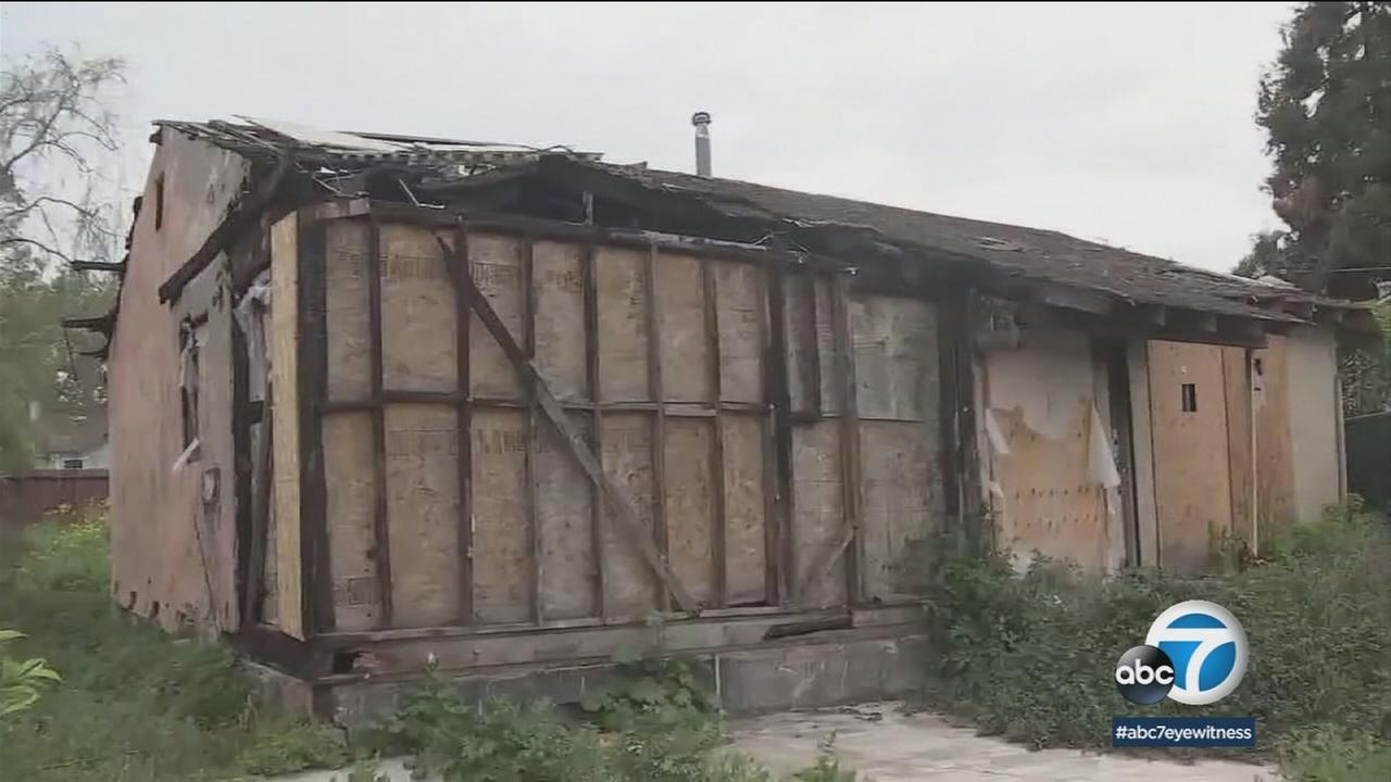 A burned out shack is shown in San Jose that is for sale for $800,000.