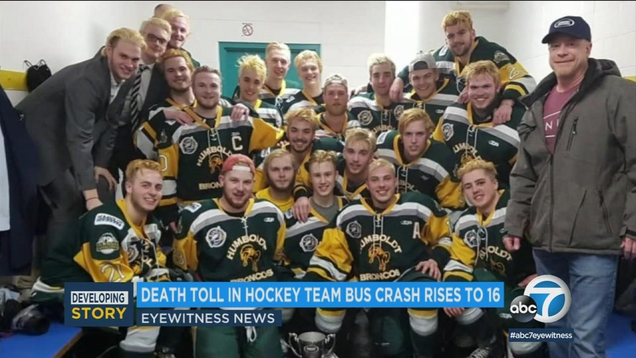 The death toll in a bus crash involving a junior hockey team rose to 16 on Wednesday as a woman who worked as trainer for the team died.