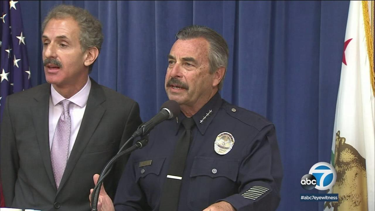 LAPD Chief Charlie Beck is shown during a news conference.