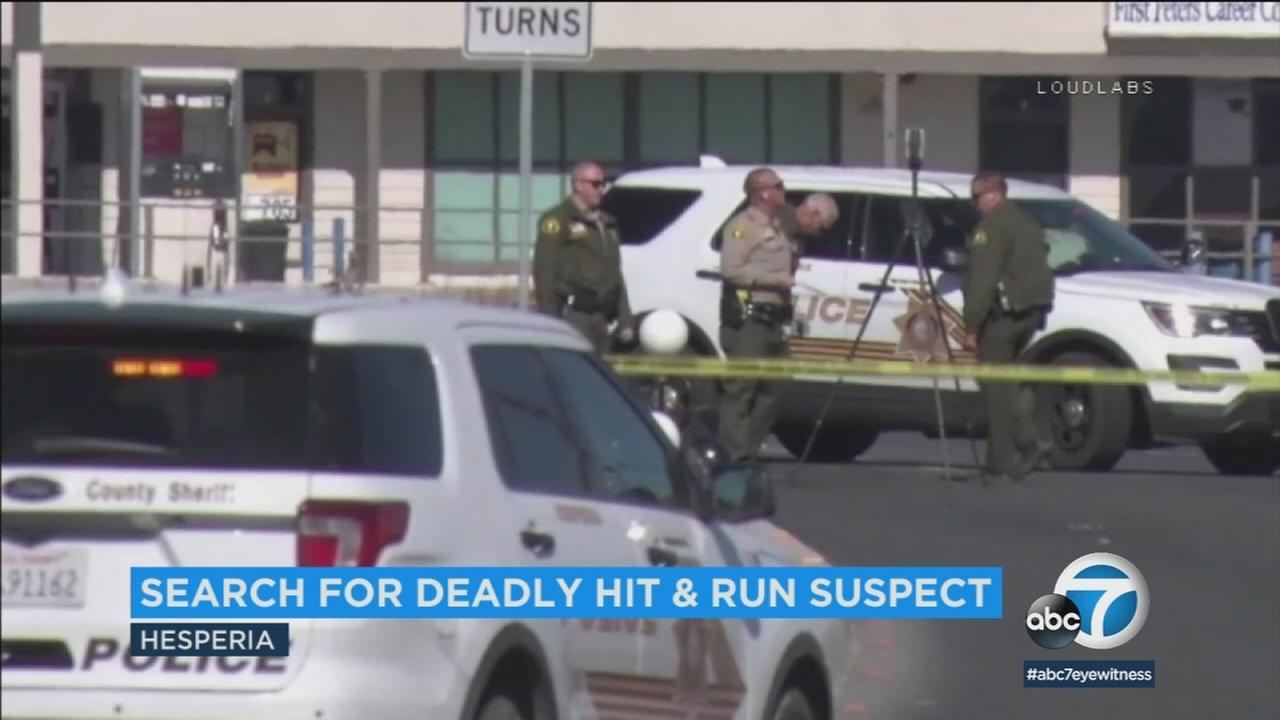 A 62-year-old woman is dead after a hit-and-run incident in Hesperia. Police are searching for the suspect.