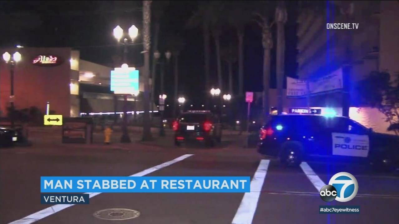 The scene of a stabbing in Ventura where a father was stabbed while dining with his family on Wednesday, April 19, 2018.