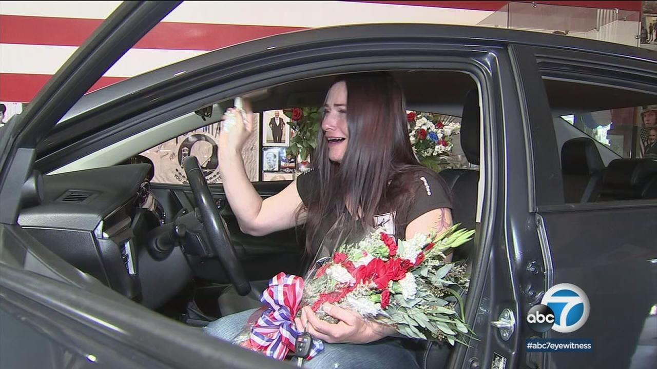 It was an emotional moment for Tiffany Derosier as the U.S. Army veteran showed up to a popular Lancaster brewery knowing shes going to receive a refurbished 2016 Toyota Corolla.