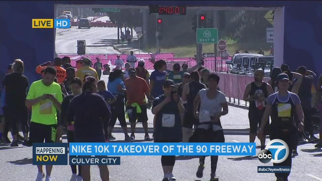 The 90 Freeway was shut down Sunday morning in the Culver City area so some 7,000 people could participate in the Nike Go LA 10K.