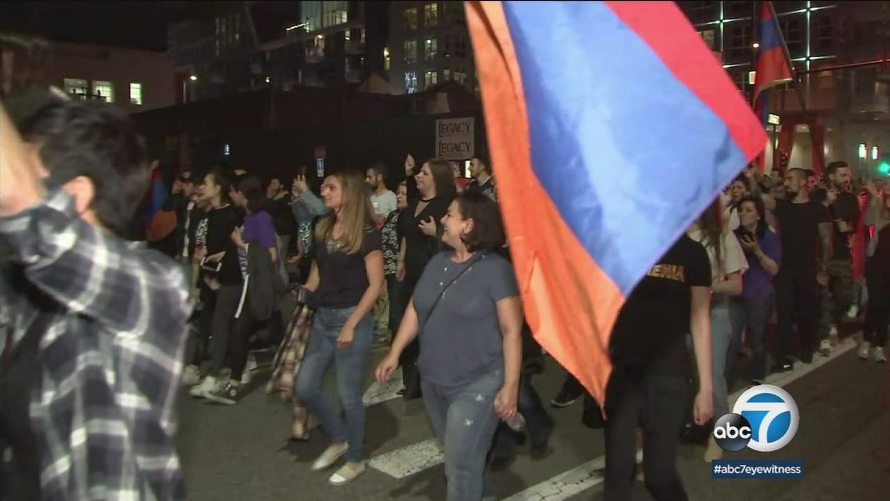 Thousands of Armenians marched in Glendale Sunday night to protest the election results in their native land.