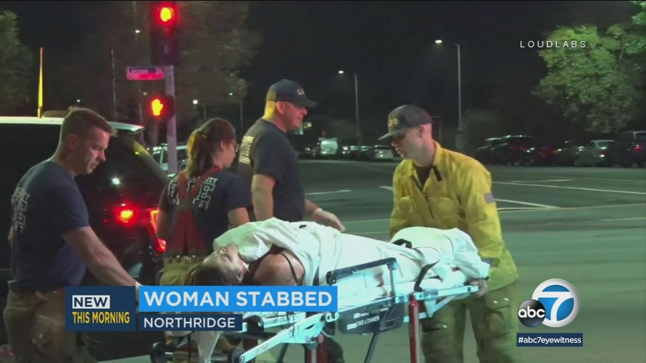 A man was arrested for attempted murder when he returned to the scene of his girlfriends stabbing at an apartment in Northridge.