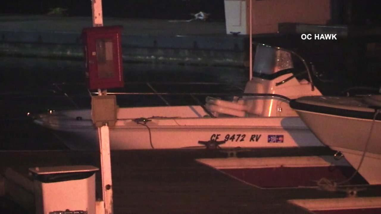 A boat is seen in Newport Beach as authorities searched for a missing man in the area on Monday, April 23, 2018.