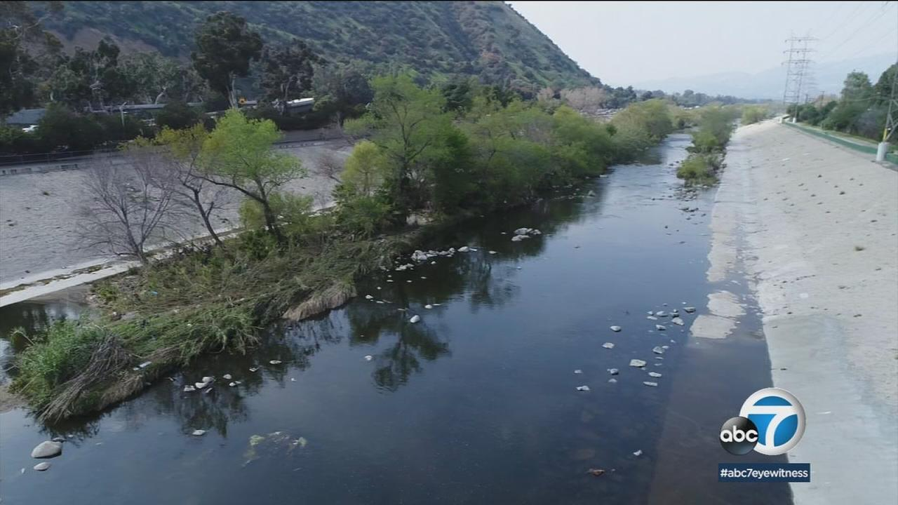 The Los Angeles River is shown in a photo.