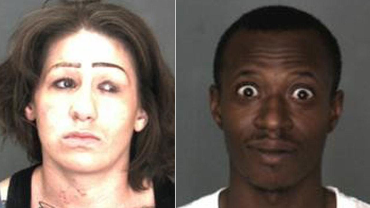 A man and woman arrested in a prostitution bust in San Bernardino on April 20, 2018, which started when the suspects tried to run down a teenager with their car.