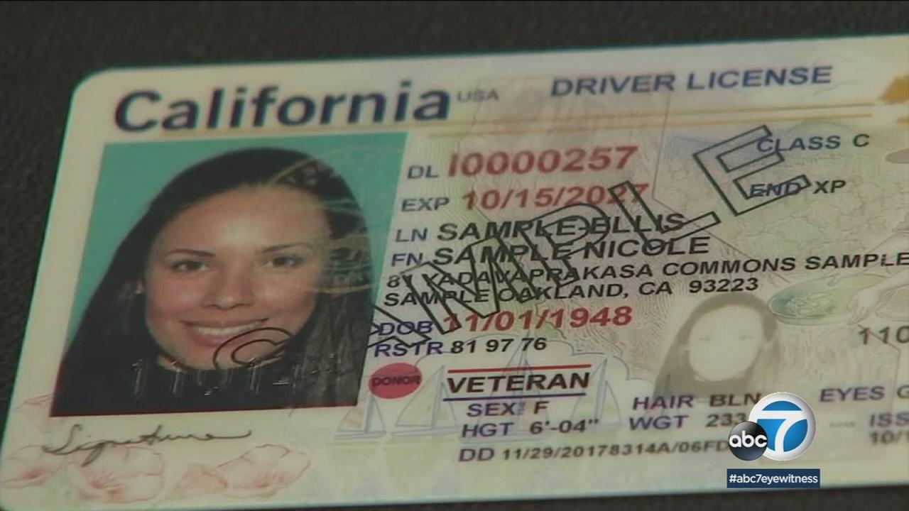 A sample California drivers license photo is shown.