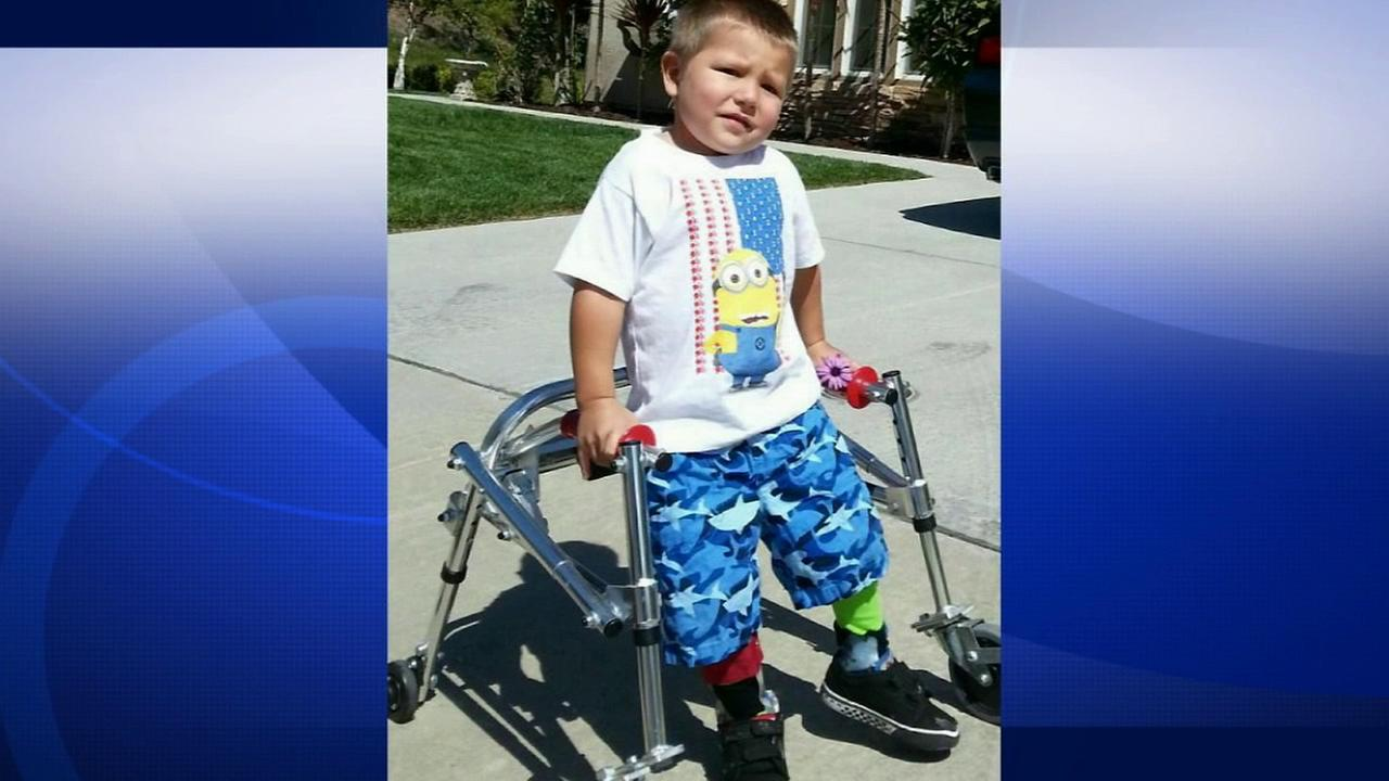 Lucian Olivera, 3, of Moorpark is seen with a walker in this undated file photo. He was diagnosed with Enterovirus in early 2014.