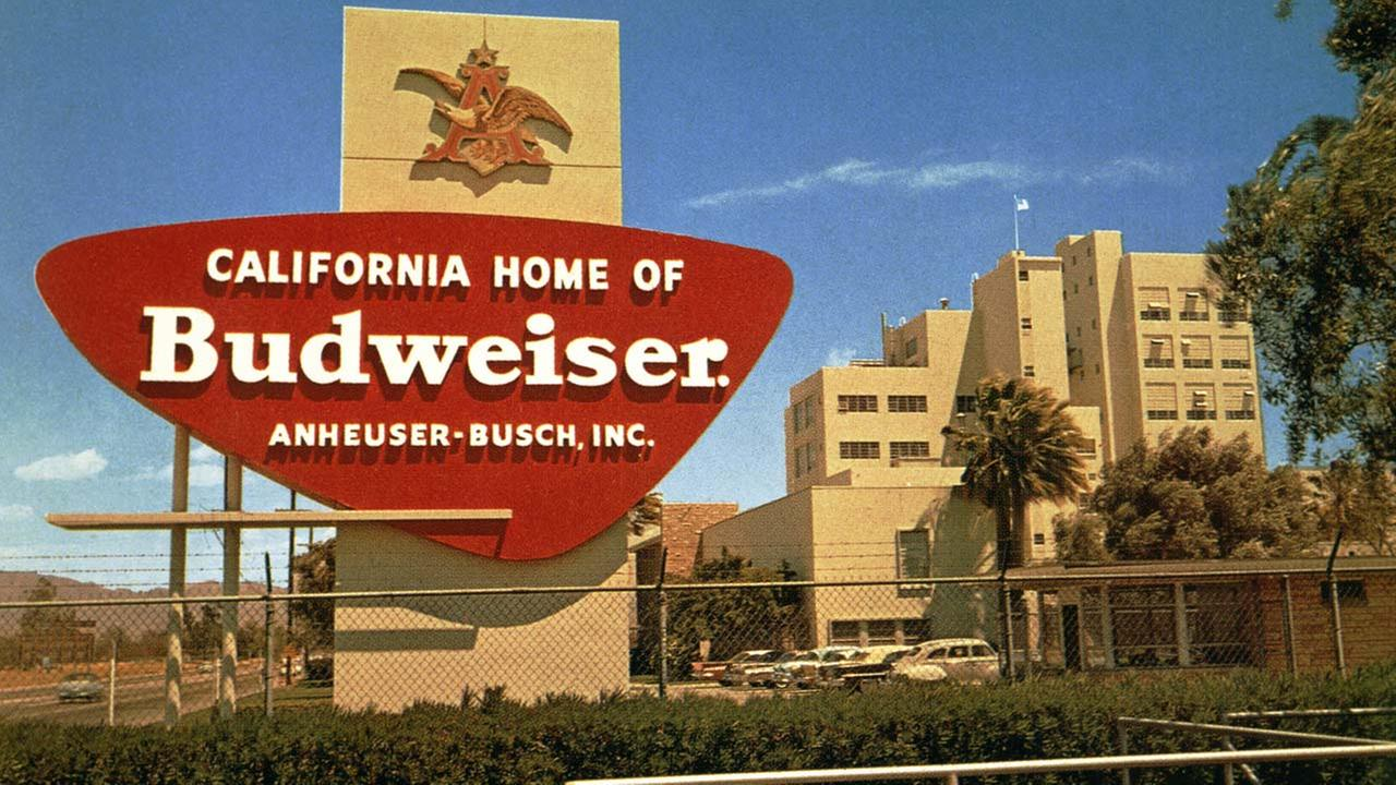 An Anheuser-Busch sign is seen in a photo provided by the company.