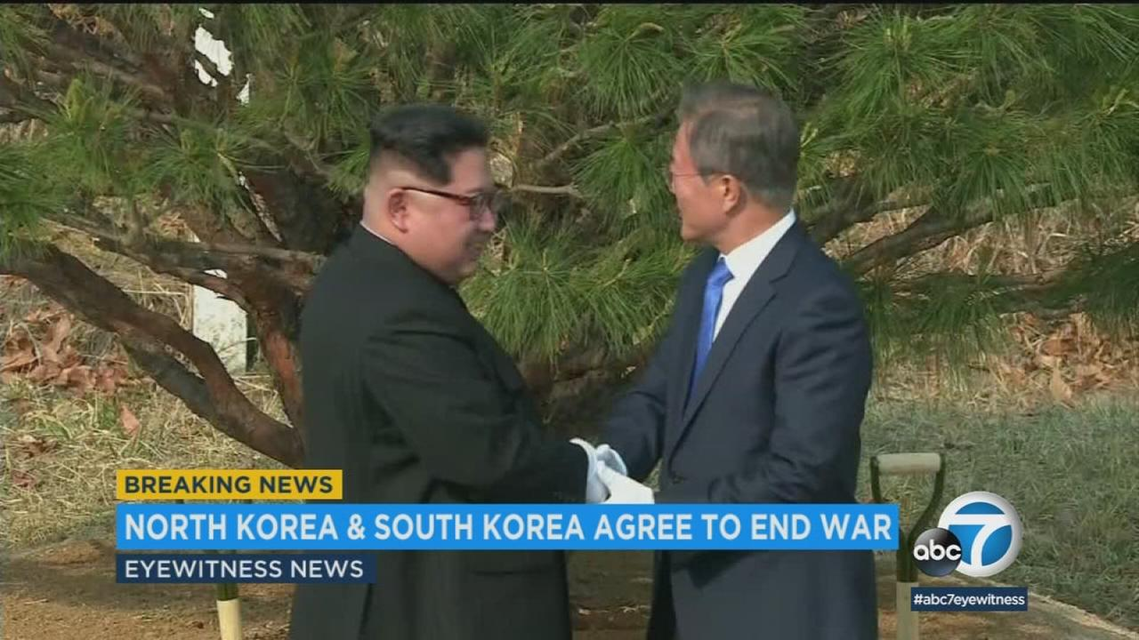 North Korean leader Kim Jong Un and South Korean President Moon Jae-in together at a historic summit on April 26, 2018.