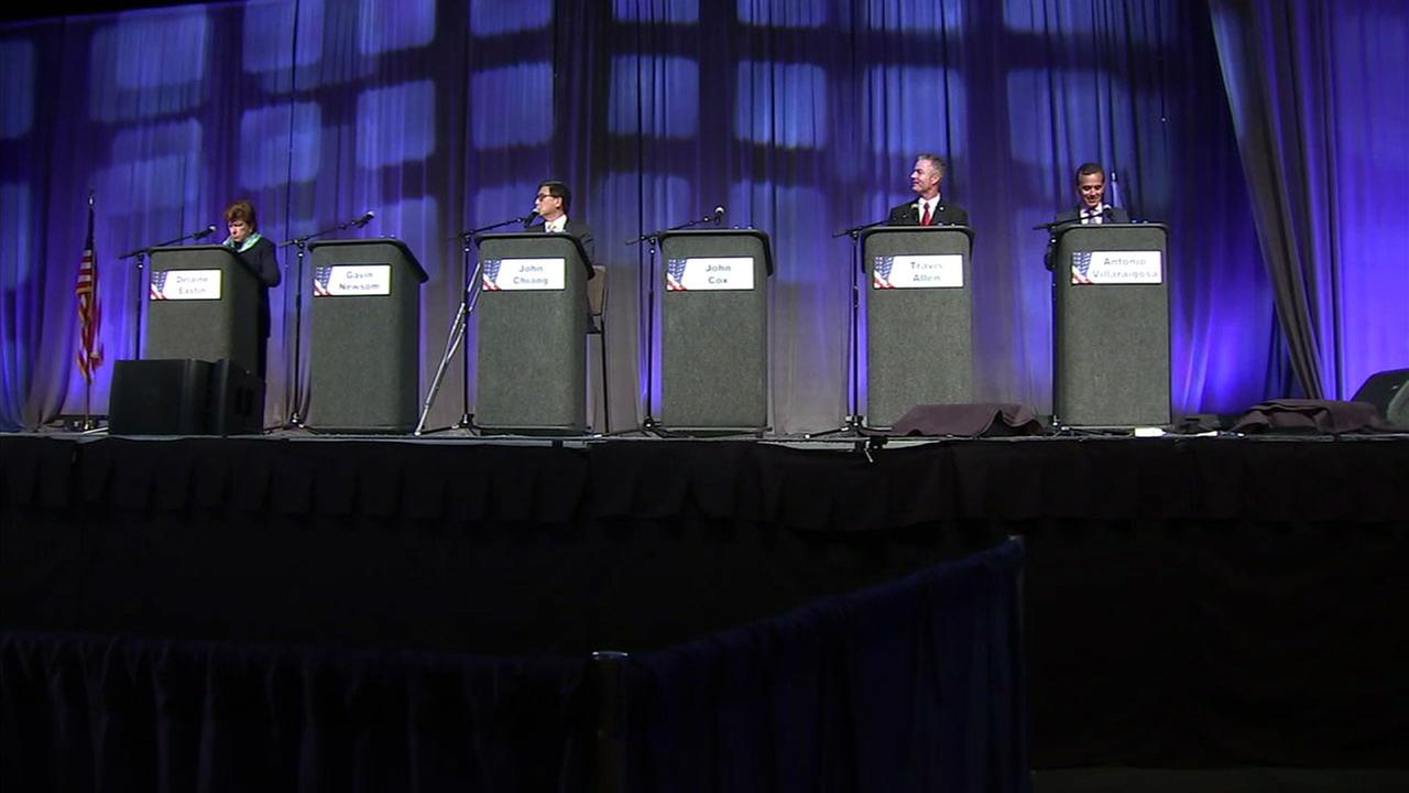 Governor of California candidates are shown in a photo from the Gubernatorial Education Forum in Ontario.