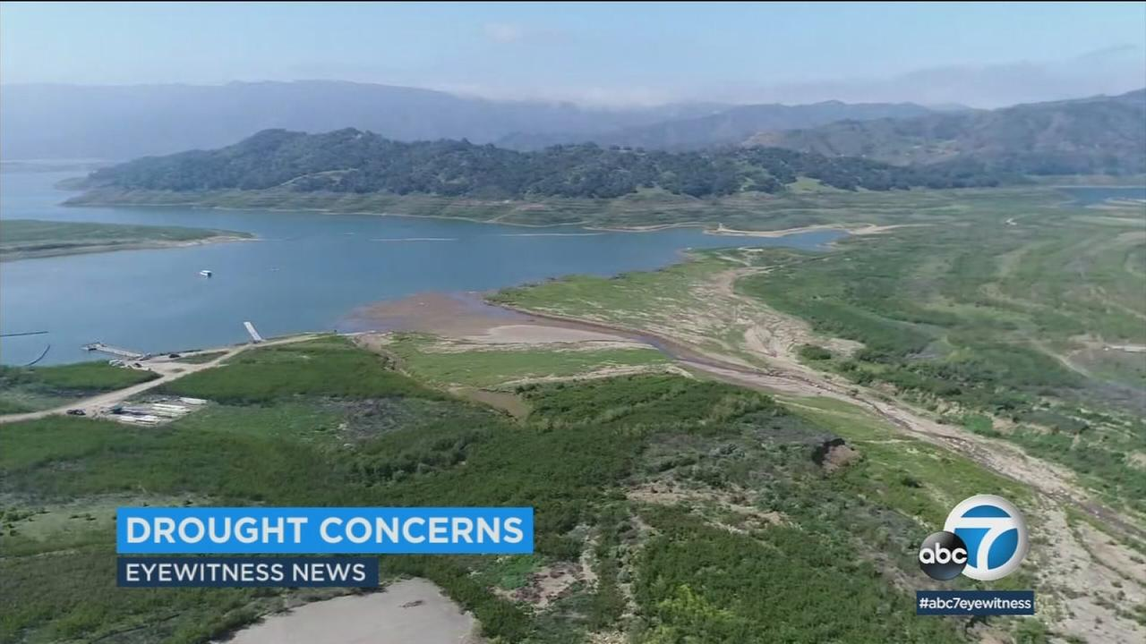 The Lake Casitas water reservoir is shown in a photo.
