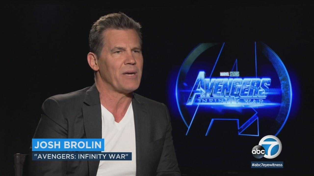 Actor Josh Brolin is shown during an interview for his role in Avengers: Infinity War.