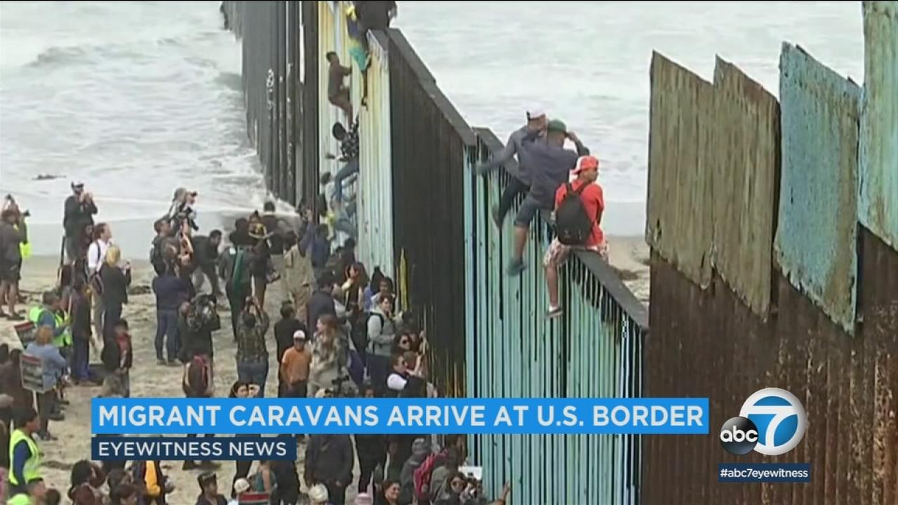 A Central American migrant caravan was turned away at the U.S. border when immigration officials said the San Diego crossing was at capacity.