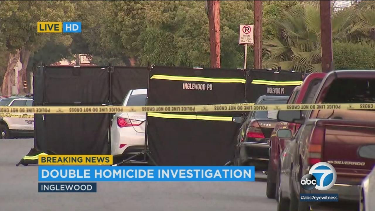 Crime scene tape ropes off the scene in Inglewood, where authorities were investigating a double homicide on Monday, April 30, 2018.