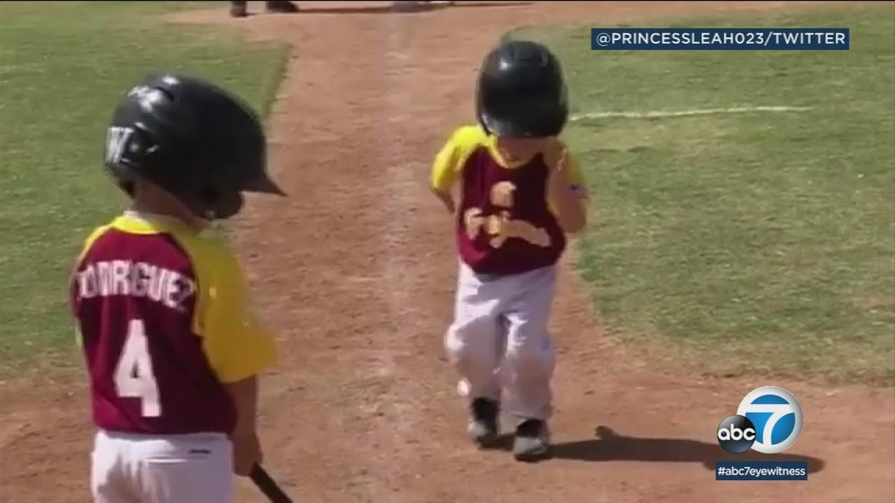 His baseball coach told him to run toward home plate as fast as he could, but the little leaguer decided to do things at his own pace.