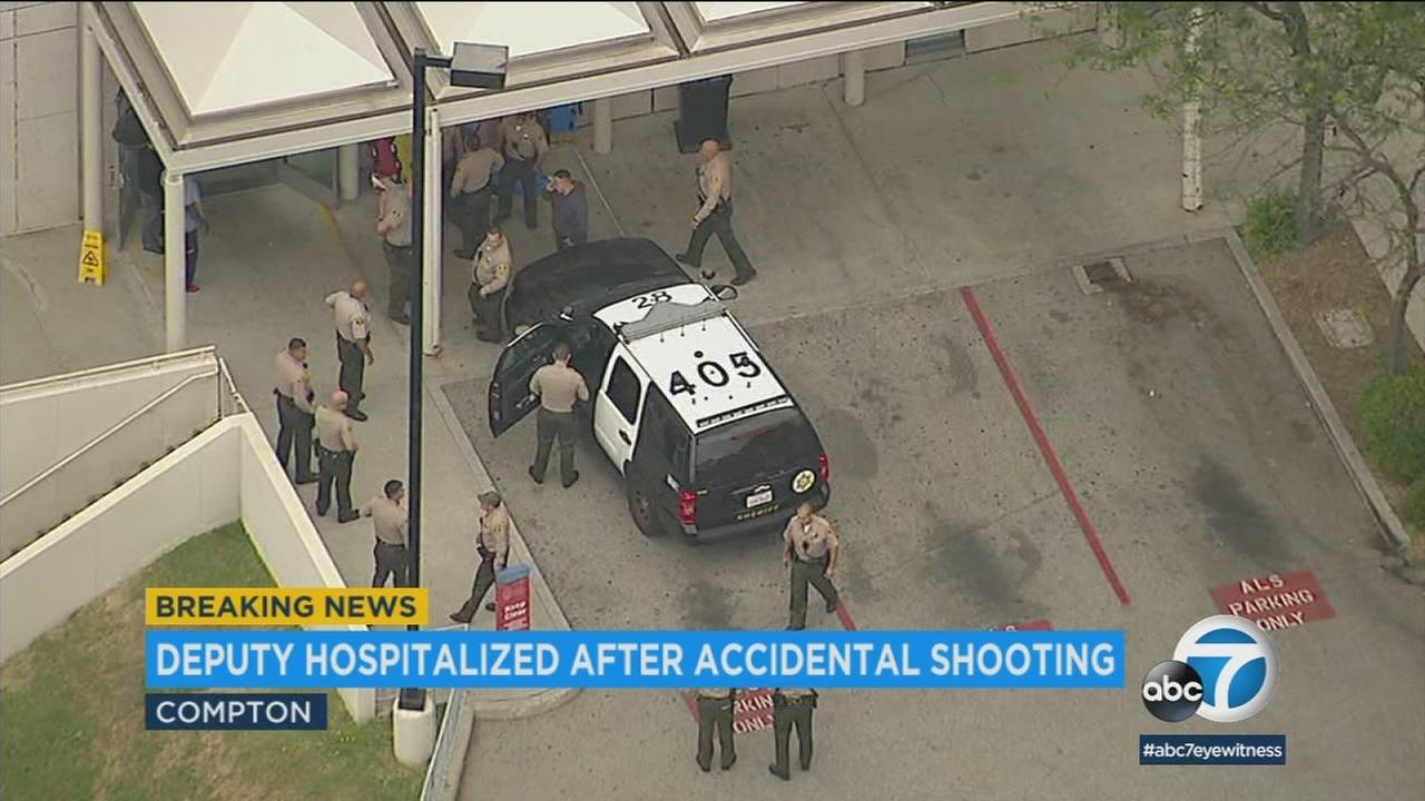 A Los Angeles County sheriffs deputy was injured Tuesday after an apparent accidental shooting, authorities said.
