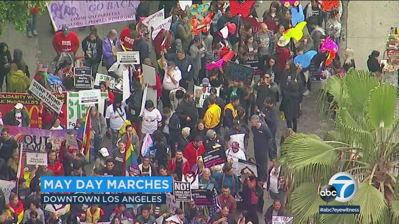 Demonstrators gathered for May Day rallys, marches and protests in downtown Los Angeles.