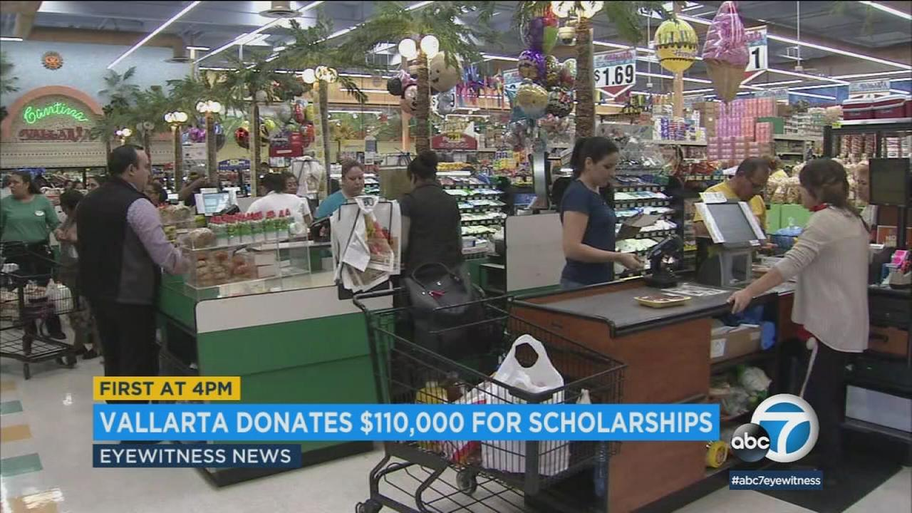 The supermarket chain Vallarta announced it will donate $110,000 to Latino students seeking a university or college education in Southern California.