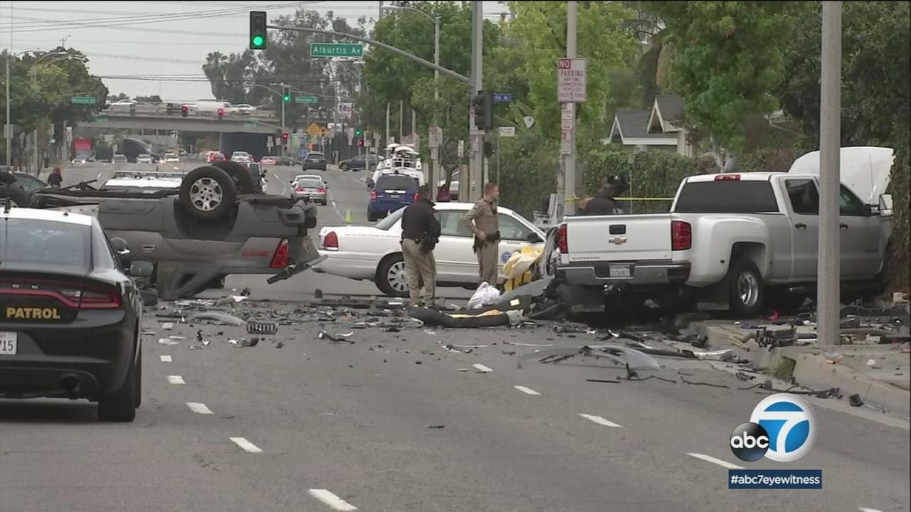 Wrecked and destroyed vehicles at the scene of a fatal crash in Pico Rivera on Wednesday, May 2, 2018.