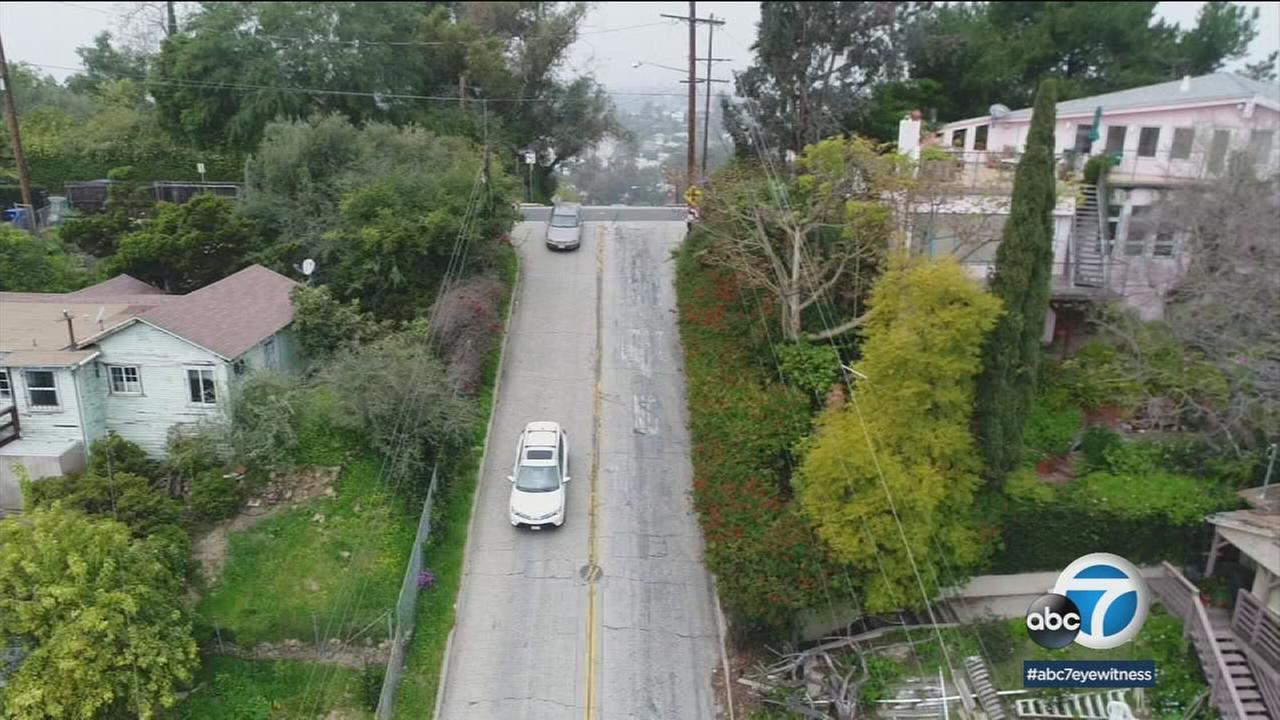 Footage from the ABC7 drone shows the steep Baxter Street in Echo Park.