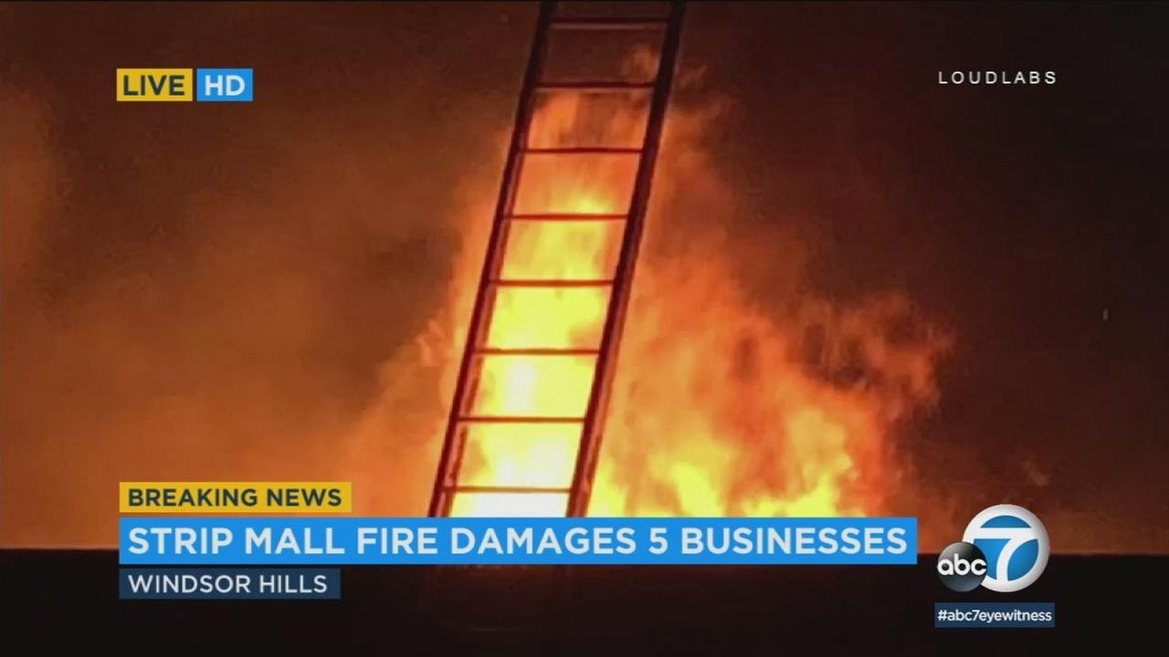Five businesses were damaged when a dramatic fire erupted early Thursday morning at a strip mall in Windsor Hills.