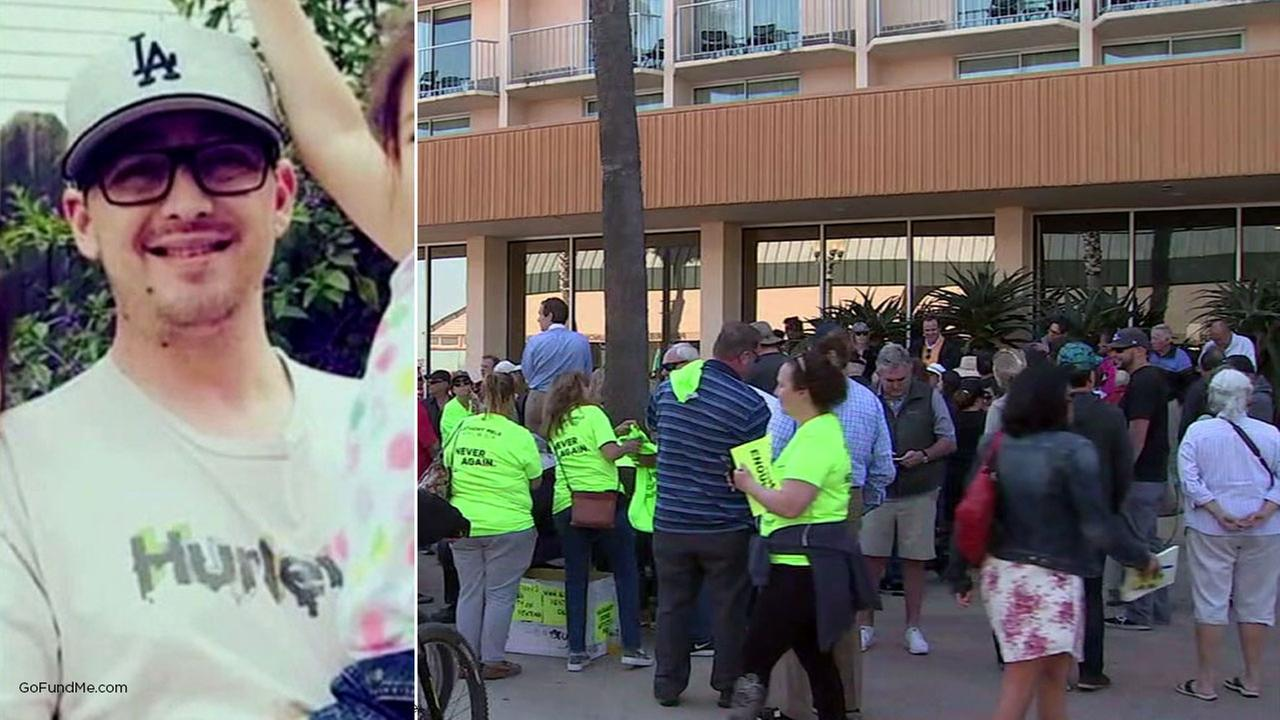 Ventura residents hold a rally on Thursday, May 3, 2018, following a fatal stabbing of a father outside the Ventura Promenade.