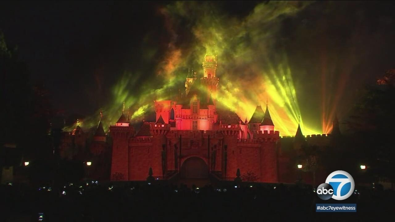 Fireworks for the Star Wars-themed night at Disneyland are shown.