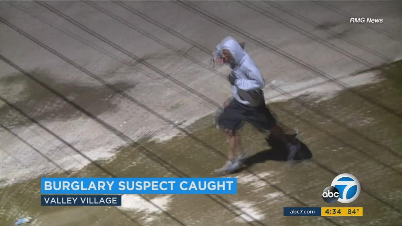 An armed suspect tried to cut an officer and fled on foot before being apprehended in Valley Village, police said.